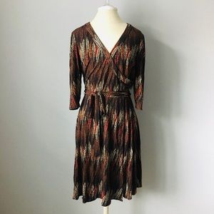 Laundry by Shelli Segal Brown Patterned Wrap Dress
